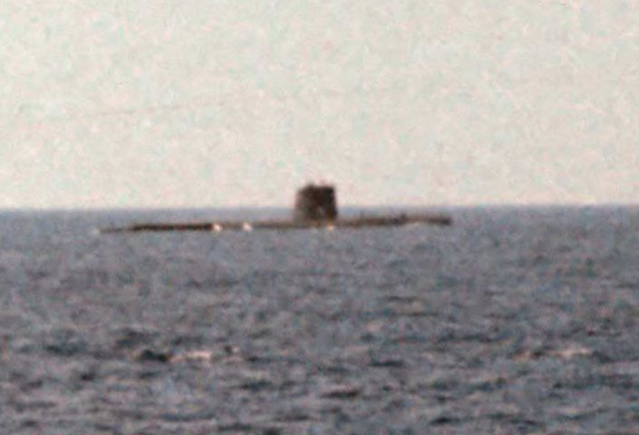 Nuclear sub on surface entering Med